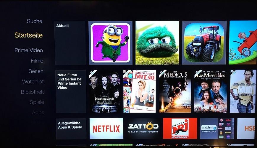 Amazon FireTV Startbildschirm