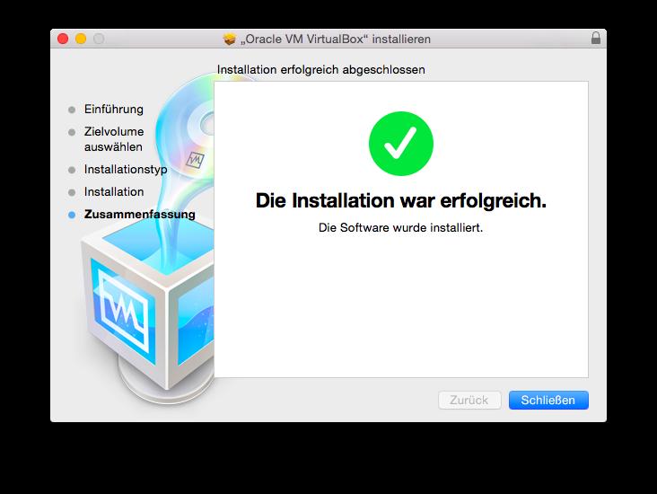 VirtualBox Installation erfolgreich