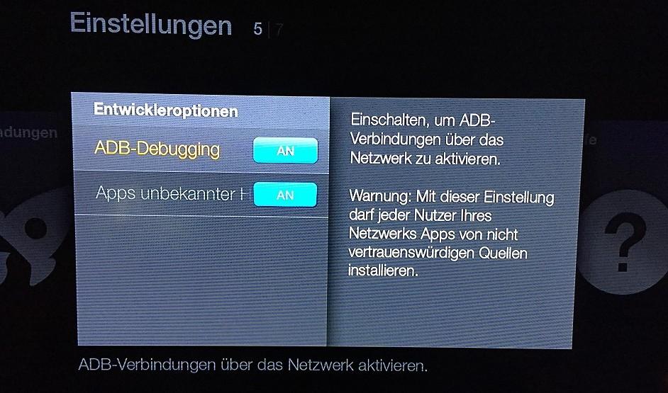 Amazon FireTV Einstellungen System Entwickleroptionen