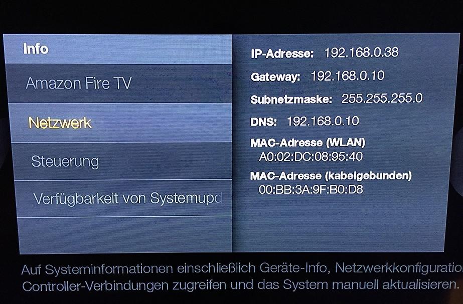 Amazon FireTV Einstellungen Info Netzwerk
