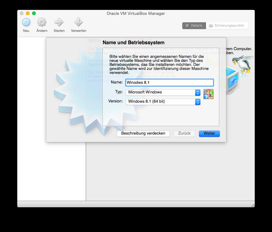 VirtualBox Neu einrichten Name und Betriebssystem