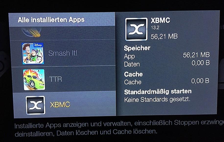 Amazon FireTV Einstellungen Anwendungen Apps