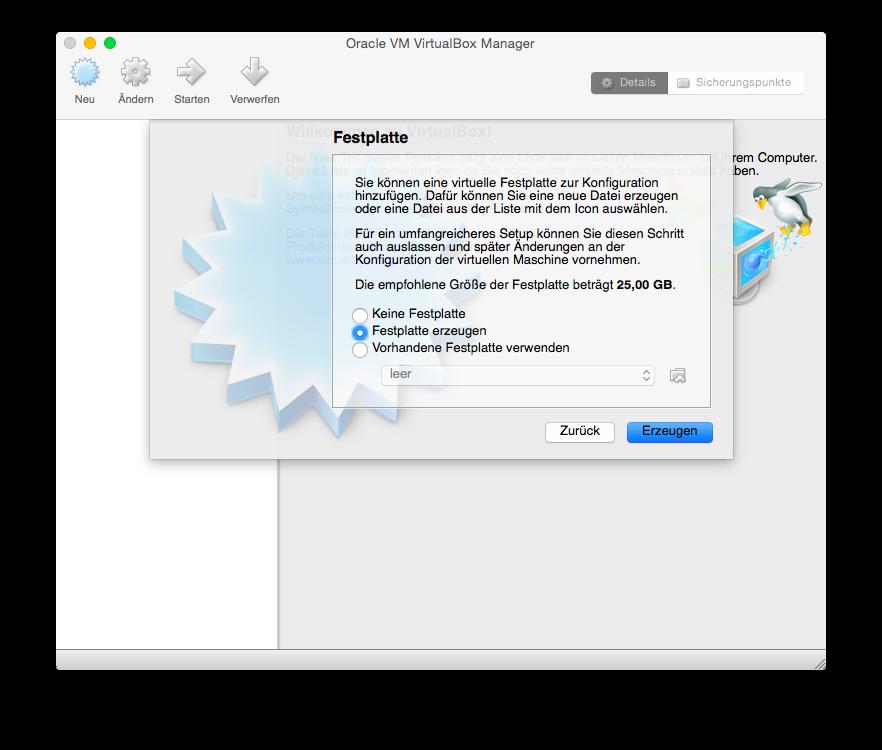 VirtualBox Neu einrichten Festplatte