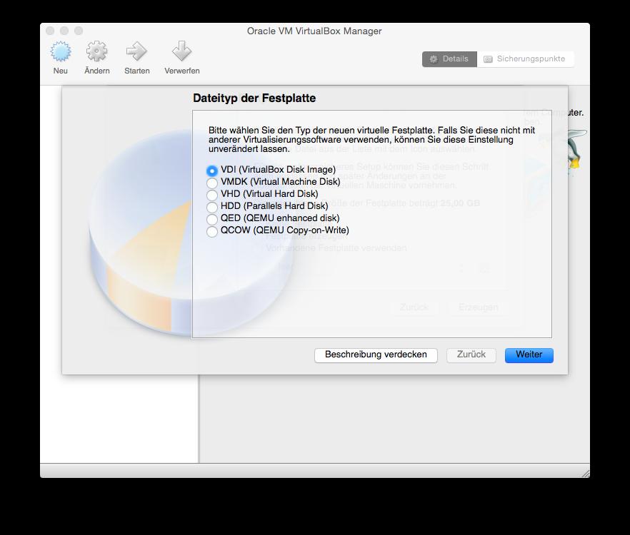 VirtualBox Neu einrichten Dateityp der Festplatte