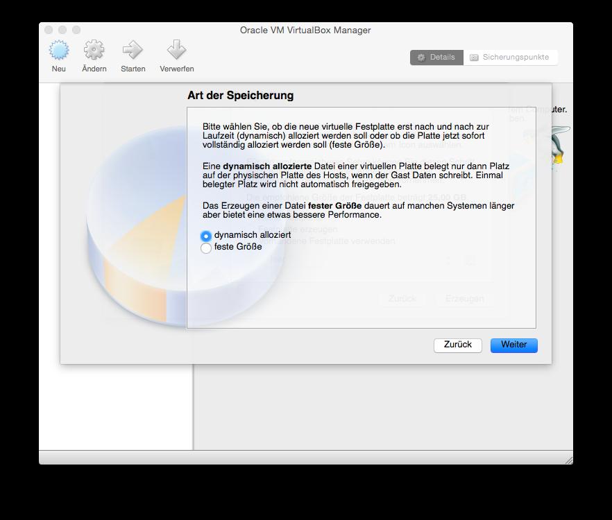 VirtualBox Neu einrichten Art der Speicherung
