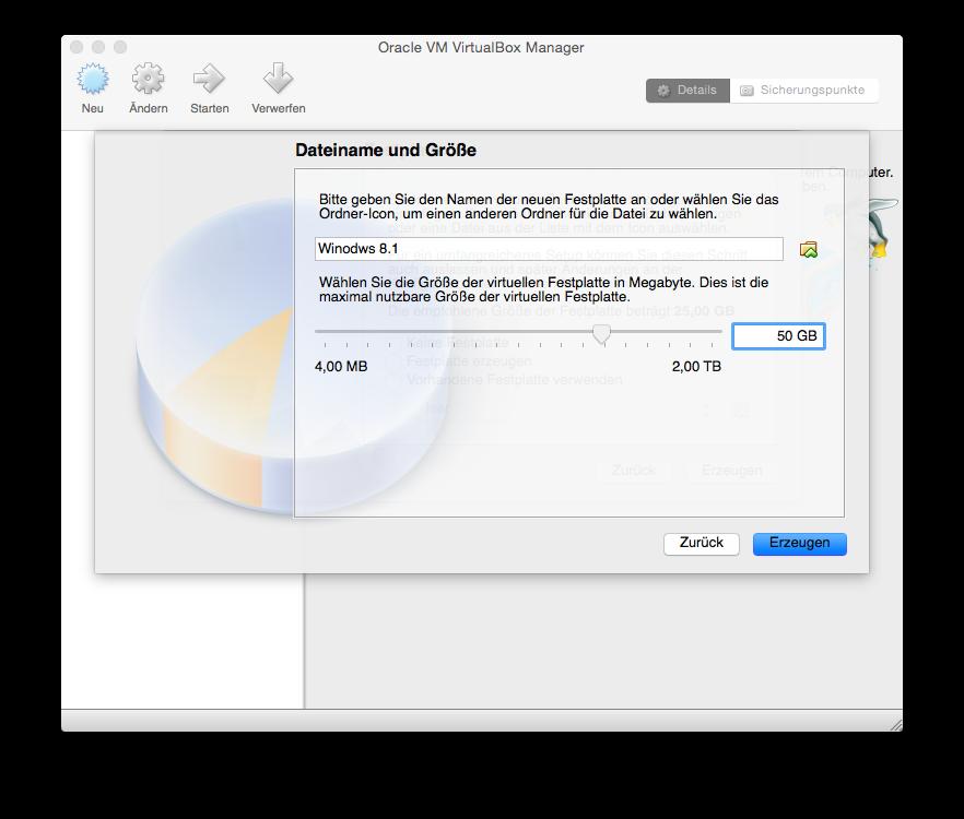 VirtualBox Neu einrichten Dateiname und Größe