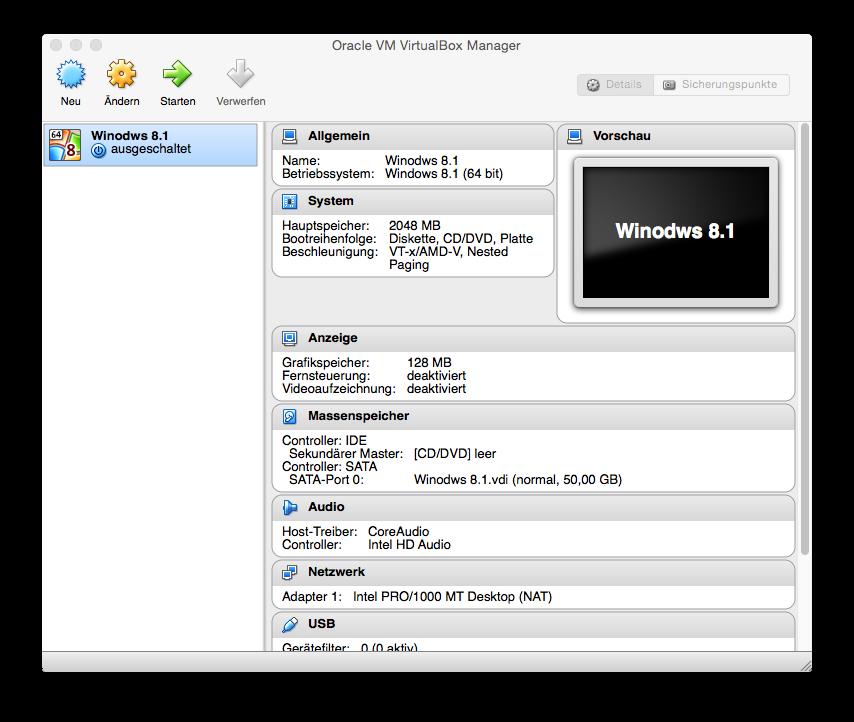VirtualBox Windows 8.1