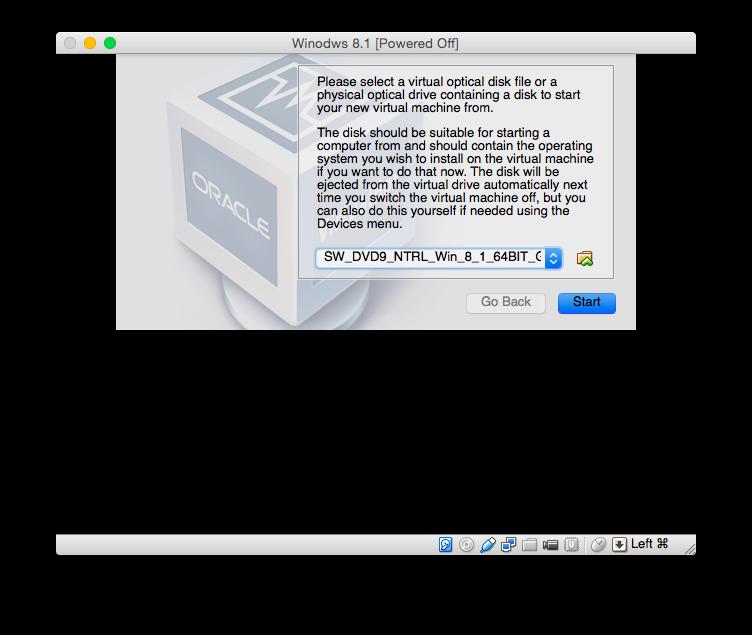 VirtualBox Windows 8.1 Boot Image auswählen
