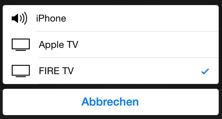 AirPlay Auswahl