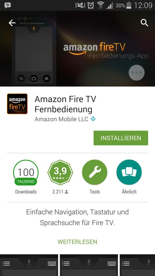 Amazon FireTV Fernbedienungs App