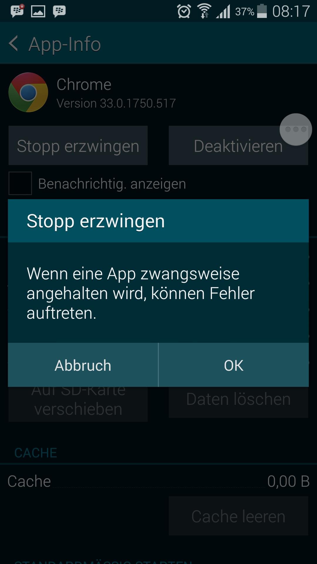 App Info - Stopp erzwingen - bestätigen