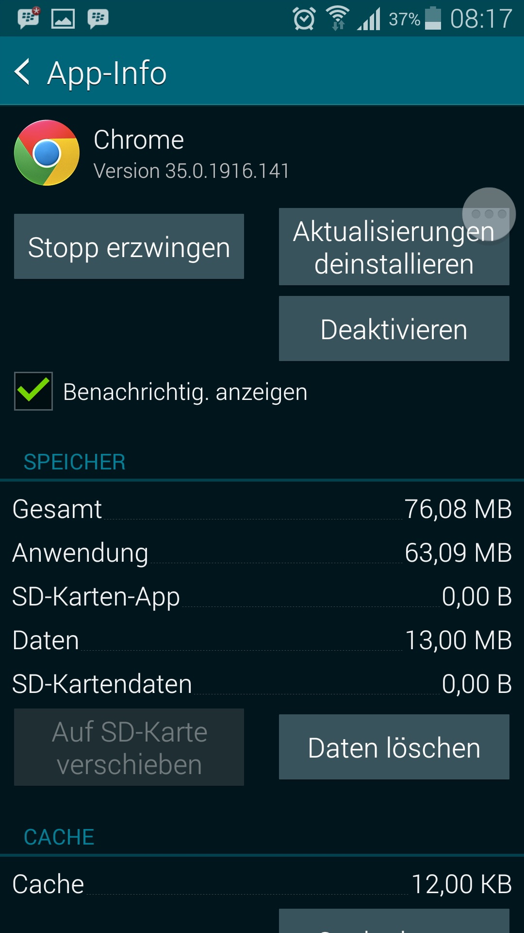 App Info - Stopp erzwingen