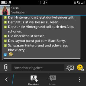 BBM dunkler Hintergrund Gespräch