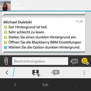 BBM heller Hintergrund - Blackberry OS 10.3.1