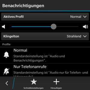 Benachrichtigungen - Blackberry OS 10.3