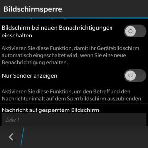Bildschirmsperre - Blackberry OS 10.3.1
