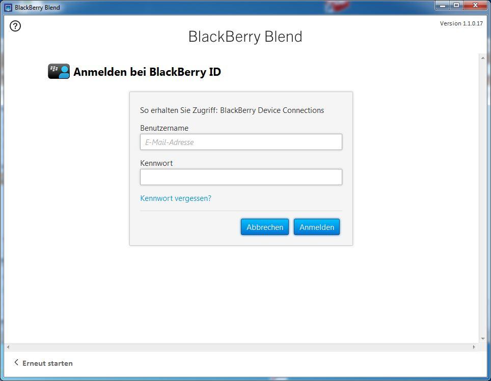 Blackberry Blend Anmeldung