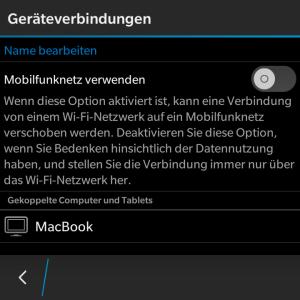 Blackberry Blend - Geräteverbindung Mobilfunk