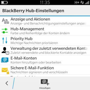 Blackberry Hub Einstellungen - Blackberry OS 10.3.1