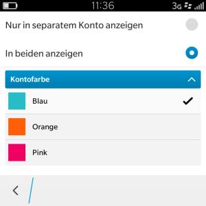 Blackberry Hub Farben einstellen - Blackberry OS 10.3.1
