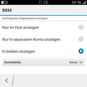 Blackberry Hub Kontofarbe keine für BBM - Blackberry OS 10.3.1