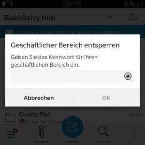 Geschäftlicher Bereich gesperrt - Blackberry OS 10.3