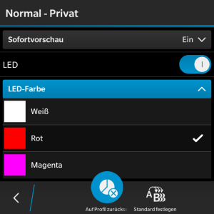 LED Farbe ändern - Blackberry OS 10.3