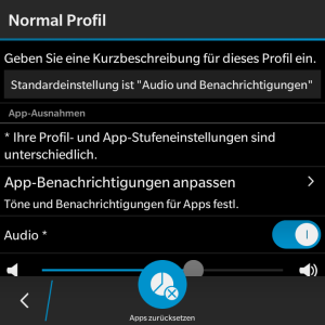 Normal Profil - App-Benachrichtigungen anpassen - Blackberry OS 10.3