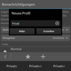 Persönliches Benachrichtigungs-Profil erstellen - Blackberry OS 10.3