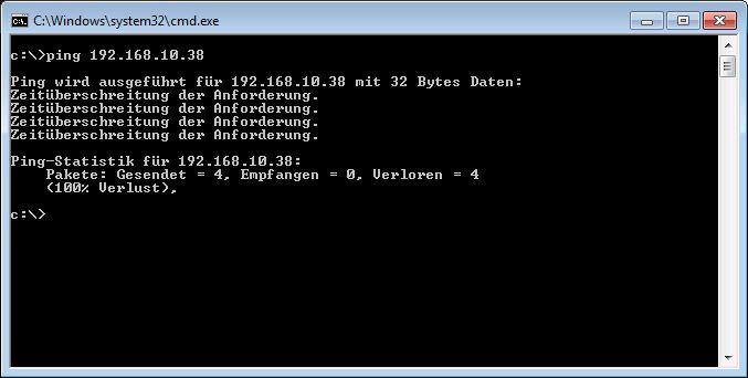 Ping IP Adresse nicht erreichbar