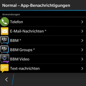 Profil Normal App-Benachrichtigungen - Blackberry OS 10.3