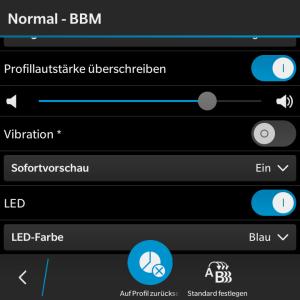 Profil Normal - LED Farbe BBM einstellen - Blackberry OS 10.3