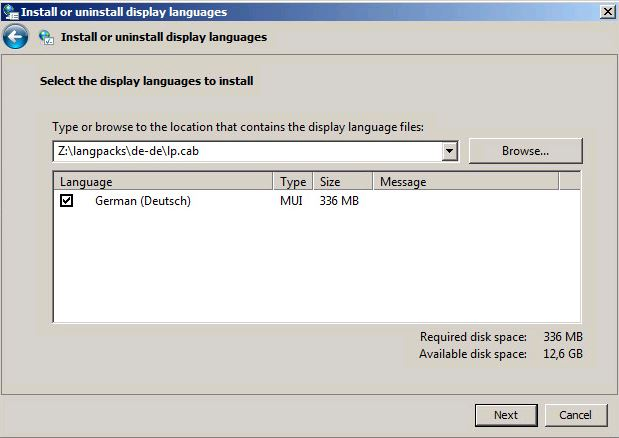 Select the display languages to install