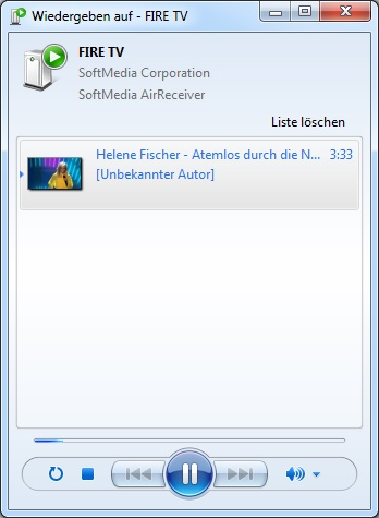 Windows Media Player - Wiedergeben auf Fire TV