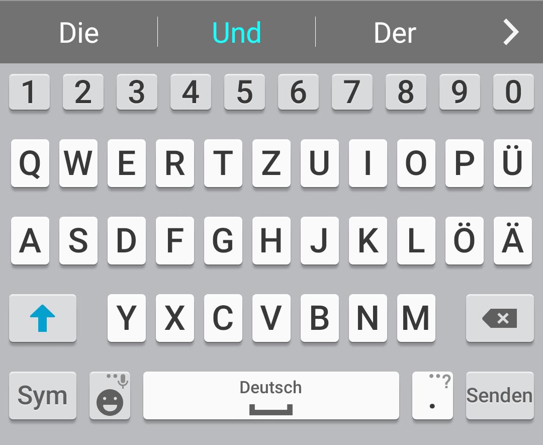 Die Tastatur mit Umlauten