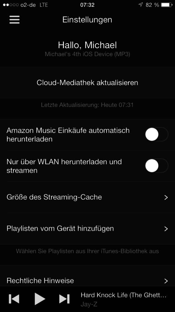 Amazon Music App - Einstellungen - Einkäufe automatisch herunterladen