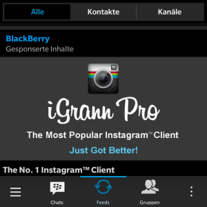 Blackberry BBM Feeds Werbung