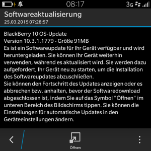 Blackberry OS 10.3.1.1779 Update