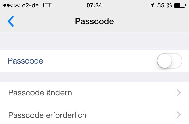 Passcode aktivieren BBM