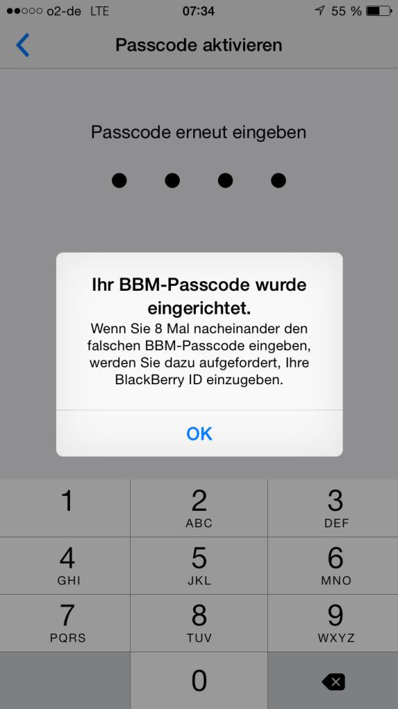 Passcode eingerichtet BBM