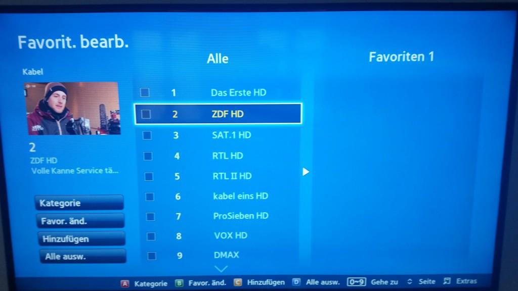 Samsung TV F Serie - Favoriten bearbeiten