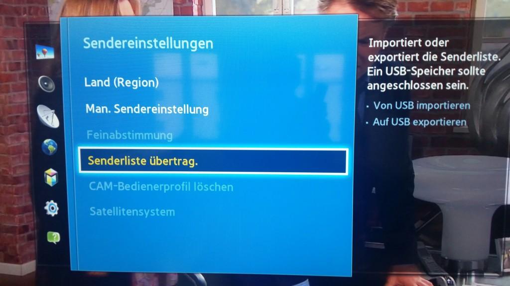 Samsung TV F Serie - Menü Senderempfang - Sendereinstellungen - Senderliste übertrag.