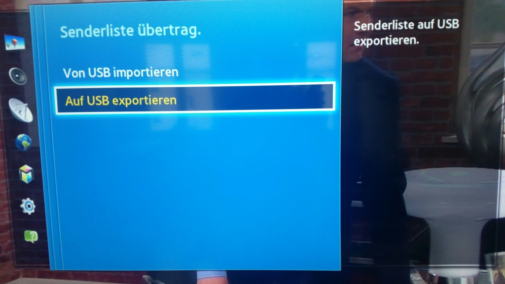 Samsung TV F Serie - Menü Senderempfang - Sendereinstellungen - Senderliste übertrag.- Auf USB exportieren