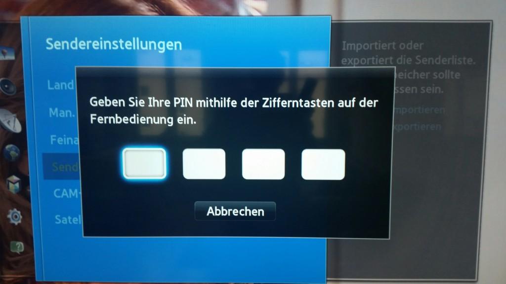 Samsung TV F Serie - Menü Senderempfang - Sendereinstellungen - Senderliste übertrag.- PIN