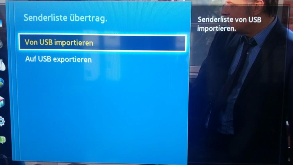 Samsung TV F Serie - Menü Senderempfang - Sendereinstellungen - Senderliste übertrag.- Von USB importieren