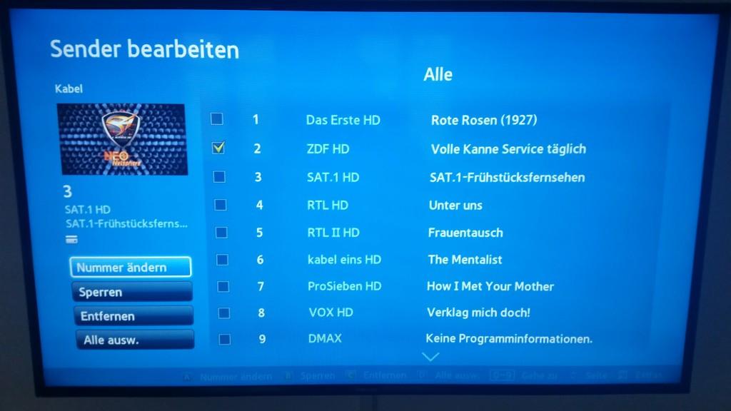 Samsung TV F Serie - Sender bearbeiten