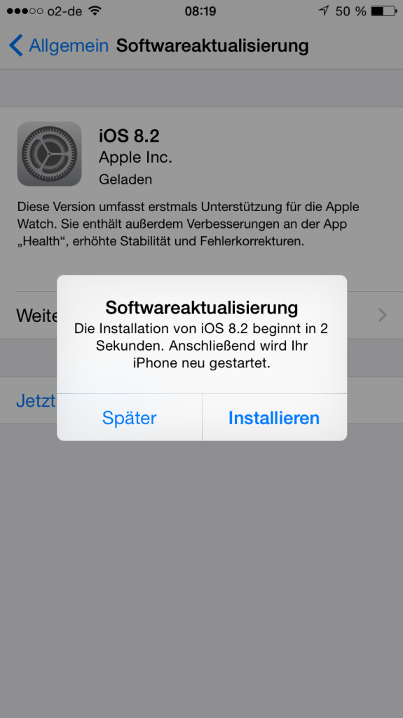 iOS 8.2 Installation
