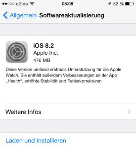 iOS 8.2 Laden und installieren