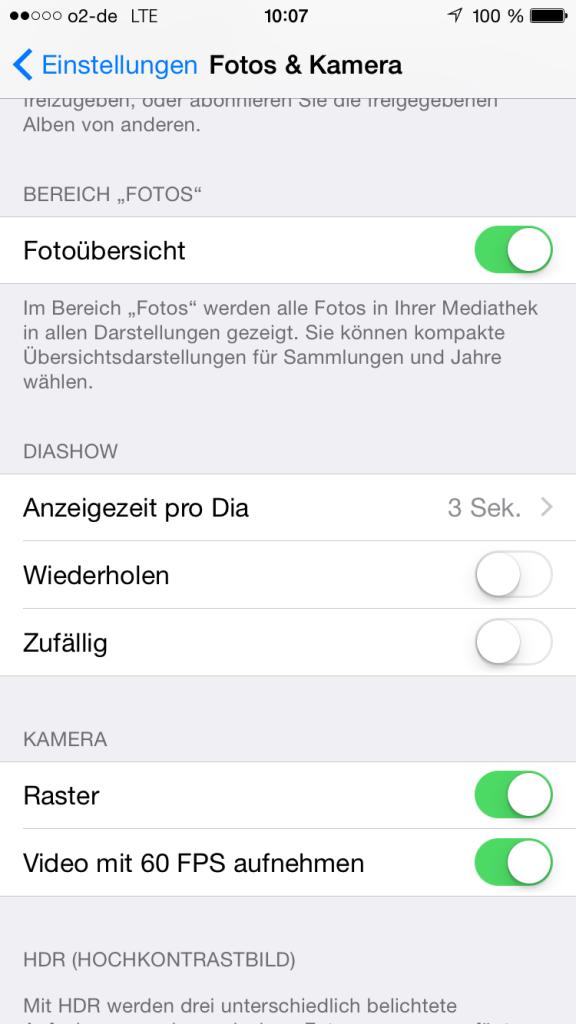 Einstellung Raster iPhone 6