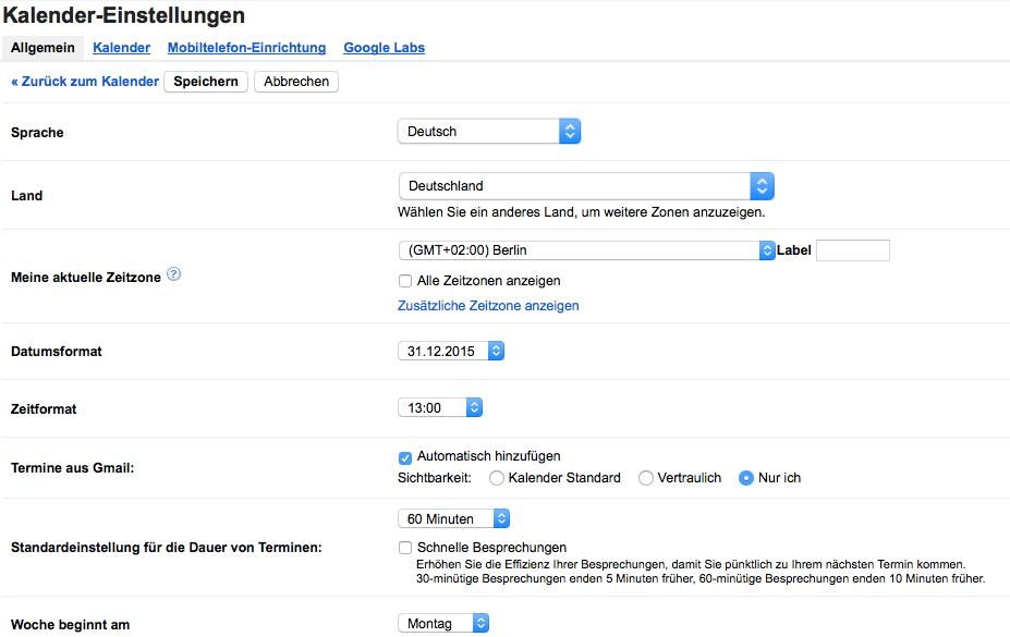 In den allgemeinen Kalendereinstellungen von Google Mail
